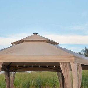 10 x 10 Outdoor Gazebo Canopy w Mosquito Netting and LED Lights 3