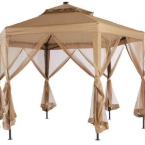 10 x 10 Outdoor Gazebo Canopy w Mosquito Netting and LED Lights 6