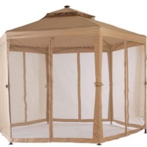 10 x 10 Outdoor Gazebo Canopy w Mosquito Netting and LED Lights 7