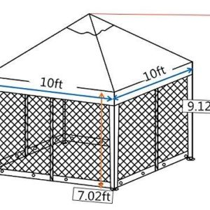 10 x 10 Outdoor Garden Gazebo with Mosquito Netting 7