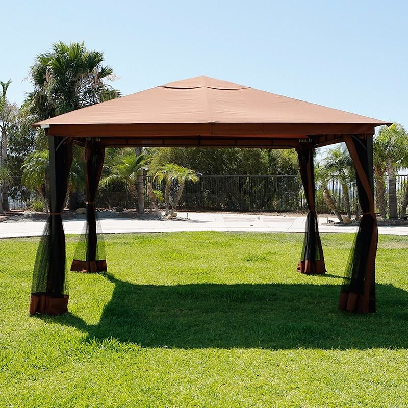 10 x 12 patio gazebo canopy with mosquito netting. Black Bedroom Furniture Sets. Home Design Ideas