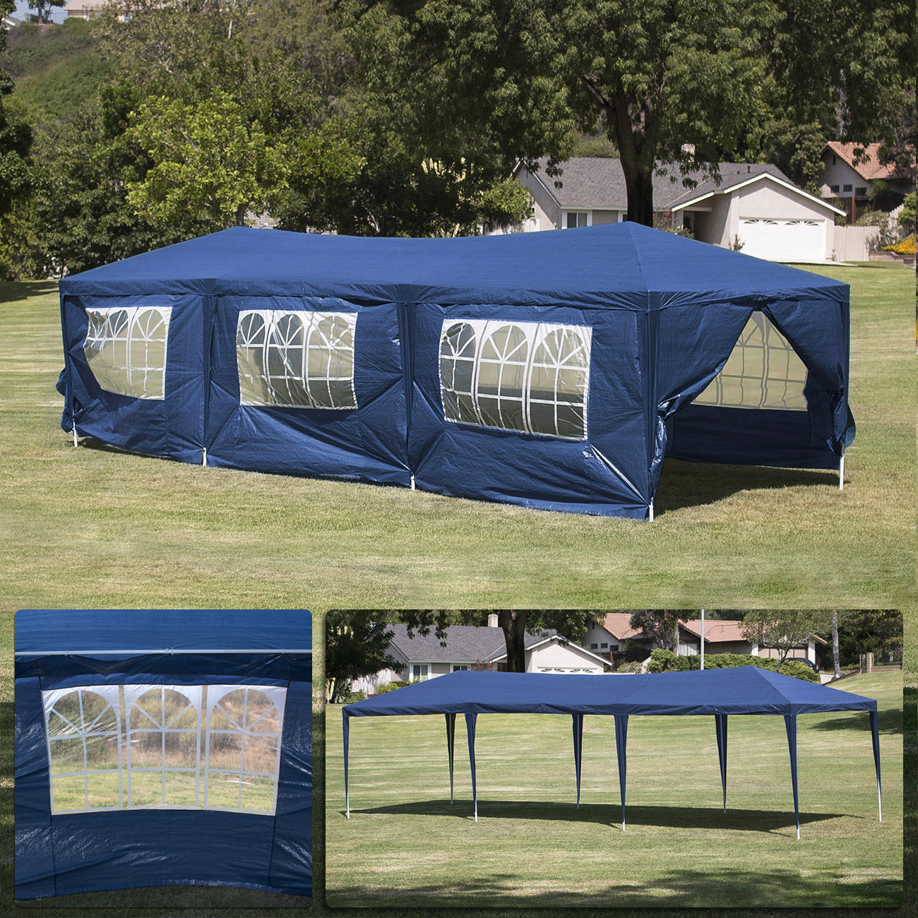 10 x 30 Dark Blue Party Tent Canopy & 10 x 30 Blue Party Tent Canopy Gazebo