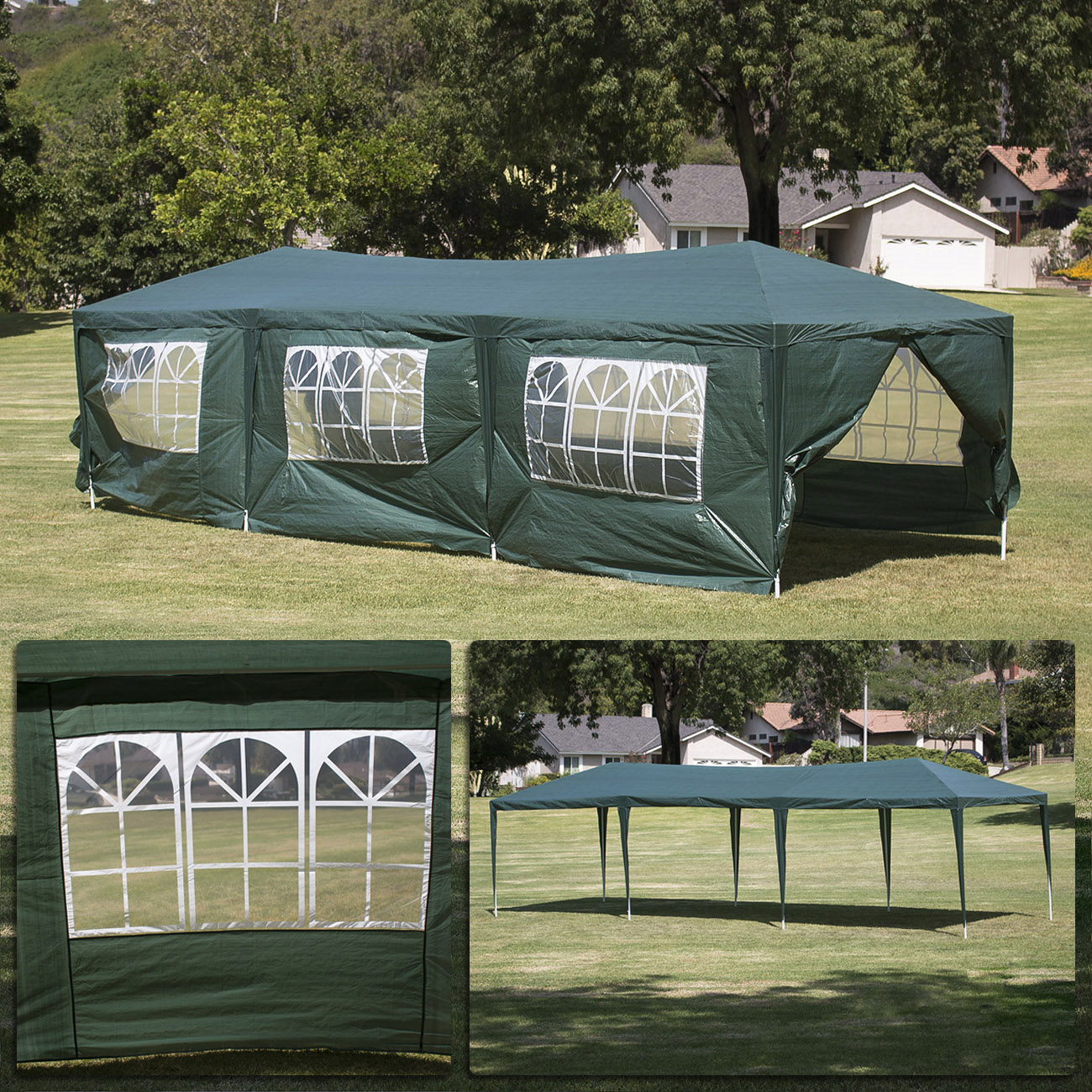 10 x 30 dark green party tent canopy gazebo. Black Bedroom Furniture Sets. Home Design Ideas