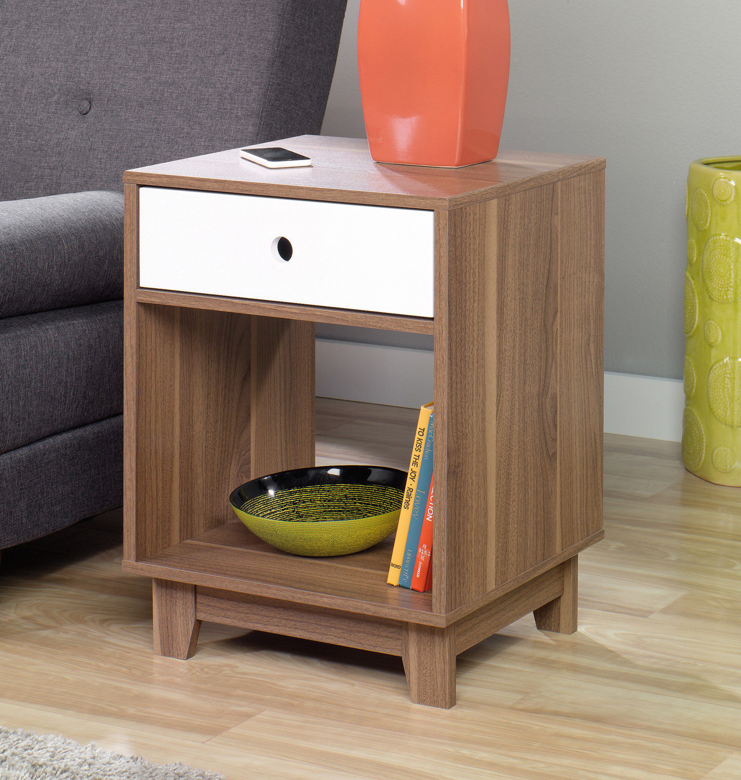 2 Inspired Accents Decorative Walnut Side End Tables Pair