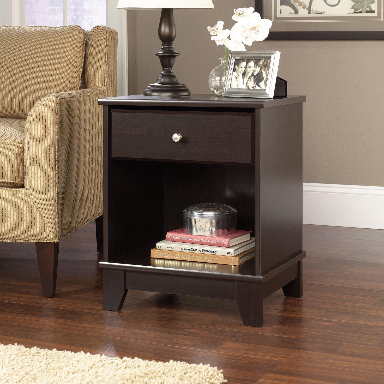 Jamocha Wood Side End Table Bedside Storage Shelf