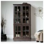Oak Tall Display Cabinet - Coffee Color