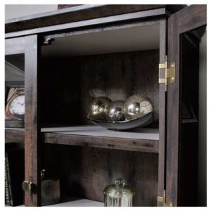 Oak Tall Display Cabinet - Coffee Color 2