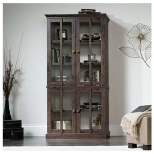 Oak Tall Display Cabinet - Coffee Color 3