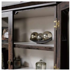 Oak Tall Display Cabinet - Coffee Color 4