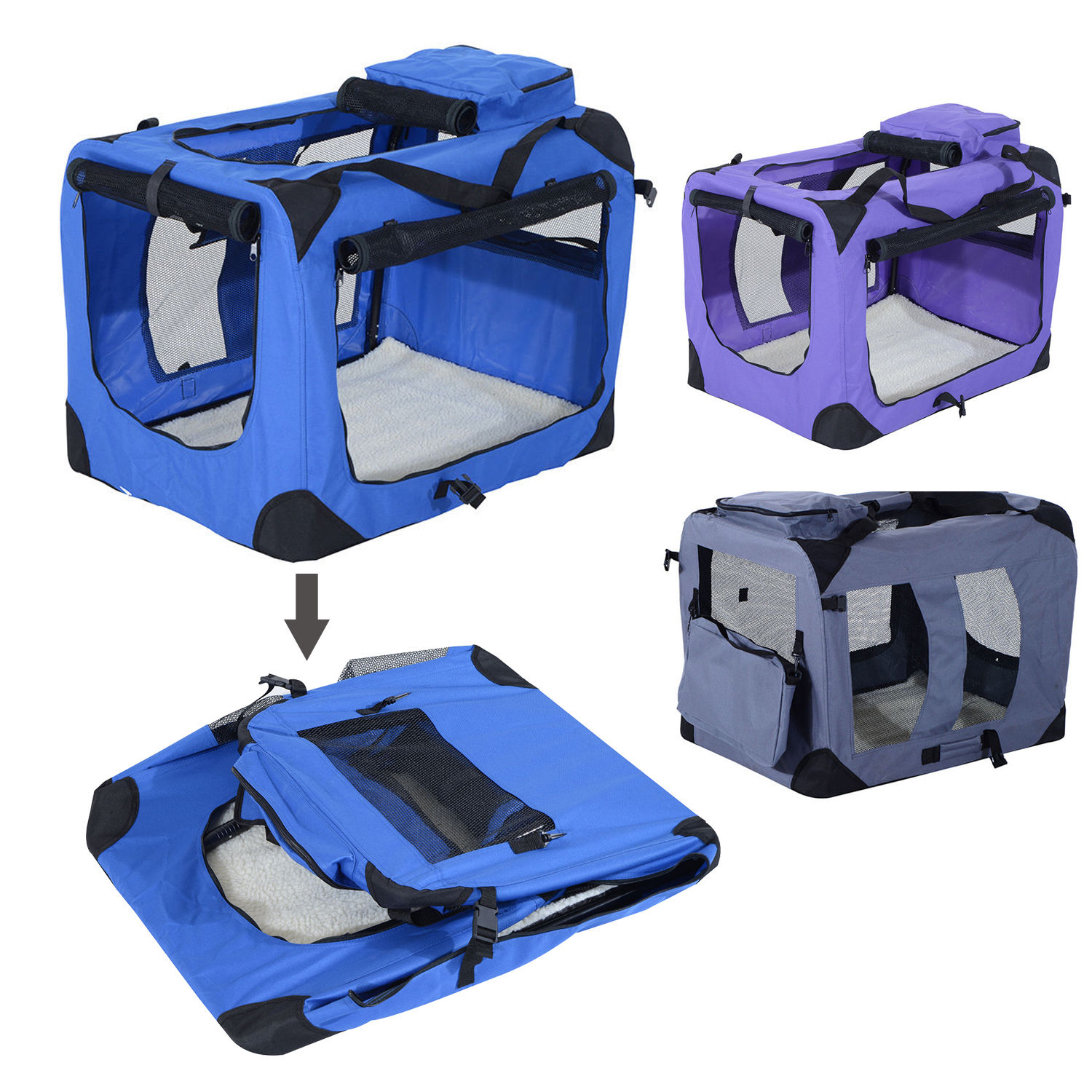32 Inch Soft Sided Folding Crate Pet Carrier
