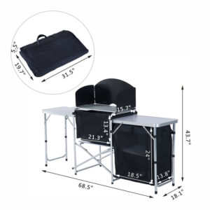 6' Portable Fold Up Camp Kitchen with Windscreen 1