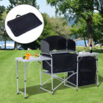 6' Portable Fold Up Camp Kitchen with Windscreen