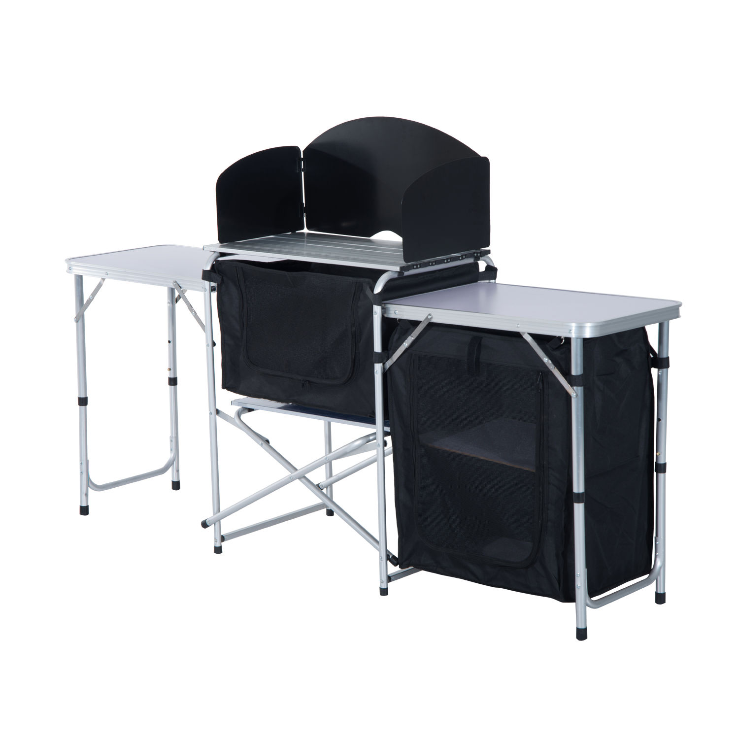 6 39 portable fold up camp kitchen with windscreen for Kitchen set portable
