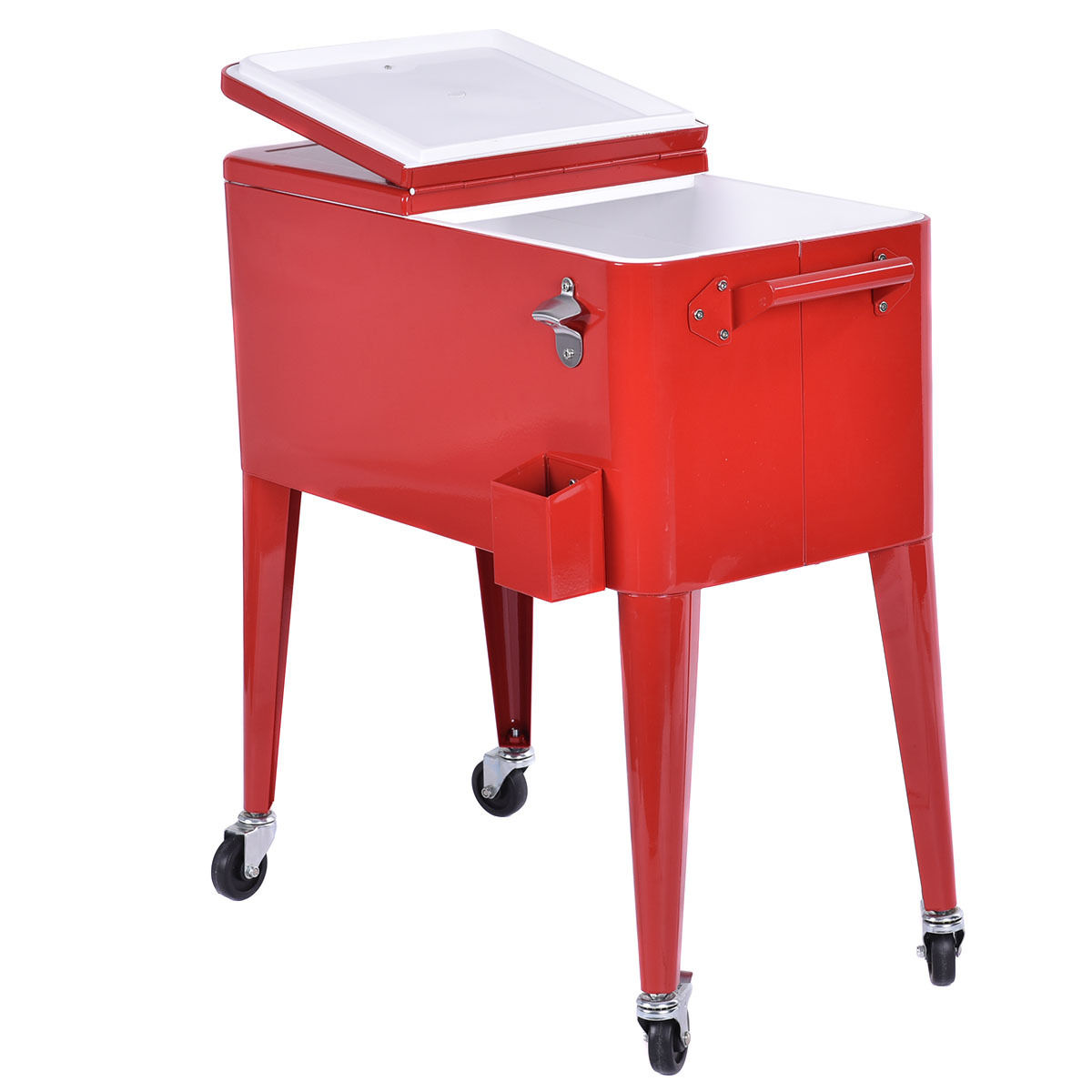 Red Portable Rolling Cooler Ice Chest 80qt