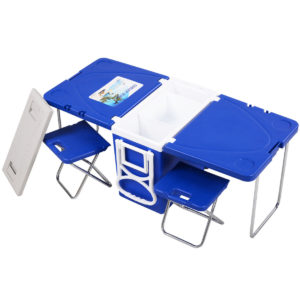 Rolling Cooler Picnic Table with 2 Chairs 1
