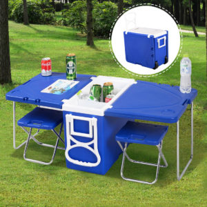 Rolling Cooler Picnic Table with 2 Chairs
