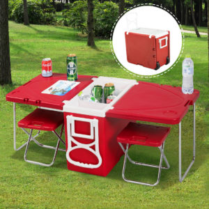 Rolling Cooler Picnic Table with 2 Chairs - Red