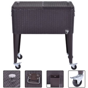 Wicker Rolling Cooler Portable Ice Chest - 80qt 1
