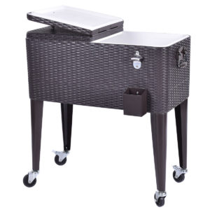 Wicker Rolling Cooler Portable Ice Chest - 80qt