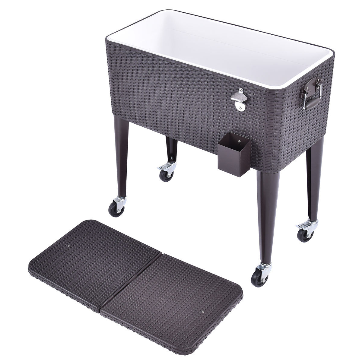 Wicker Rolling Cooler Portable Ice Chest Cart 80qt