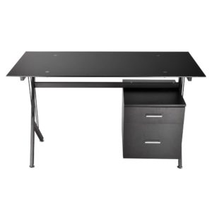 Black Glass Top Computer Desk w Drawers 2