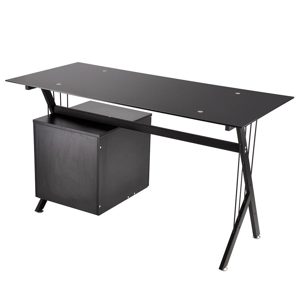 Black Glass Top Computer Desk Workstation W 2 Drawers