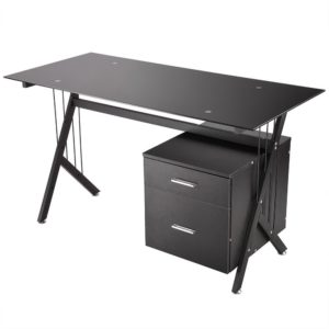 Black Glass Top Computer Desk w Drawers