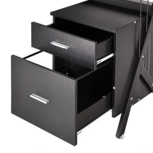 Black Glass Top Computer Desk w Drawers 4