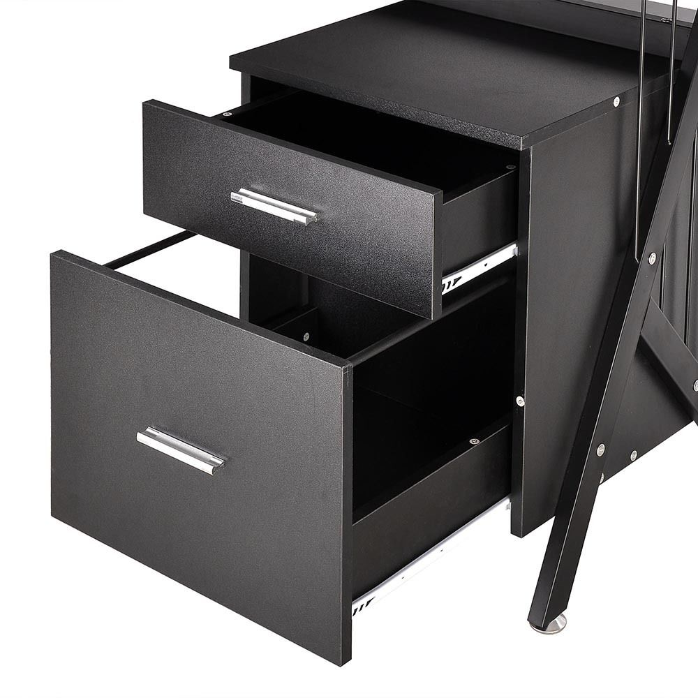 black glass top computer desk workstation w 2 drawers. Black Bedroom Furniture Sets. Home Design Ideas