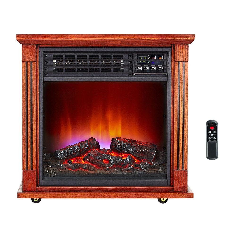 Dark Oak Fireplace Infrared Space Heater 5200 BTU