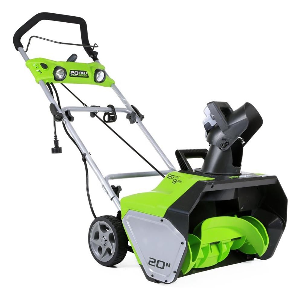 Industrial Snow Thrower : Greenworks inch snow thrower amp dual led lights