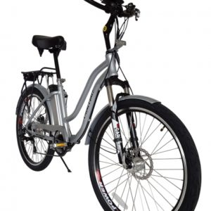 Hanalei Electric Step Through Beach Cruiser Bicycle - Silver 2