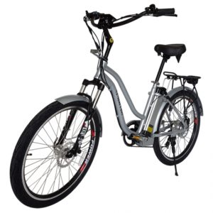 Hanalei Electric Step Through Beach Cruiser Bicycle - Silver