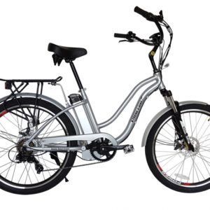 Hanalei Electric Step Through Beach Cruiser Bicycle - Silver 4