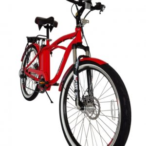Kona Electric Beach Cruiser Bicycle - 36 Volt Lithium Powered - Red 2