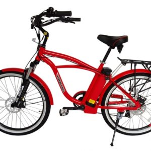 Kona Electric Beach Cruiser Bicycle - 36 Volt Lithium Powered - Red 3