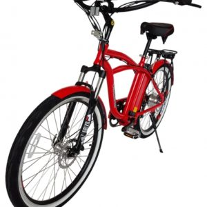 Kona Electric Beach Cruiser Bicycle - 36 Volt Lithium Powered - Red