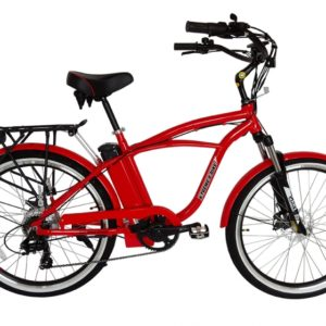 Kona Electric Beach Cruiser Bicycle - 36 Volt Lithium Powered - Red 4