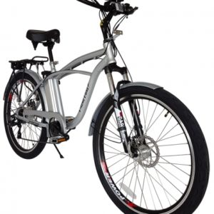 Kona Electric Beach Cruiser Bicycle - 36 Volt Lithium Powered - Silver 2