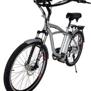 Kona Electric Beach Cruiser Bicycle - 36 Volt Lithium Powered - Silver