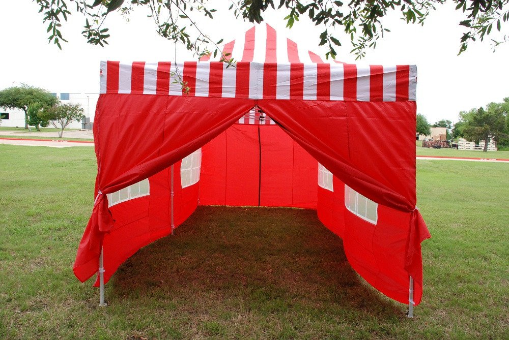 10 X 20 Red Stripe Pop Up Tent Canopy Gazebo