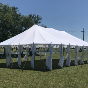 40 x 25 Pole Tent Canopy - White Polyester 3