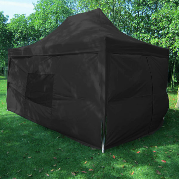 10 x 15 Black Pop Up Tent with Curtains