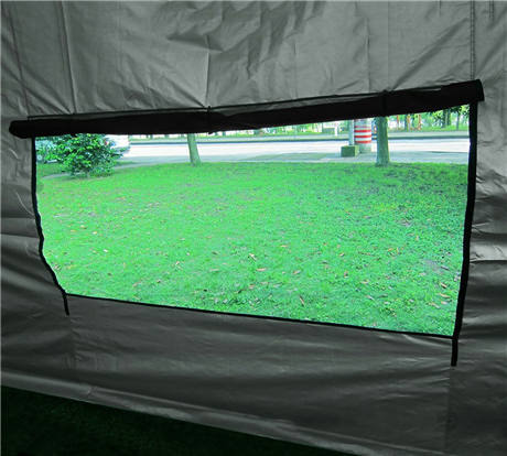 10 x 15 Black Pop Up Tent with Curtains window
