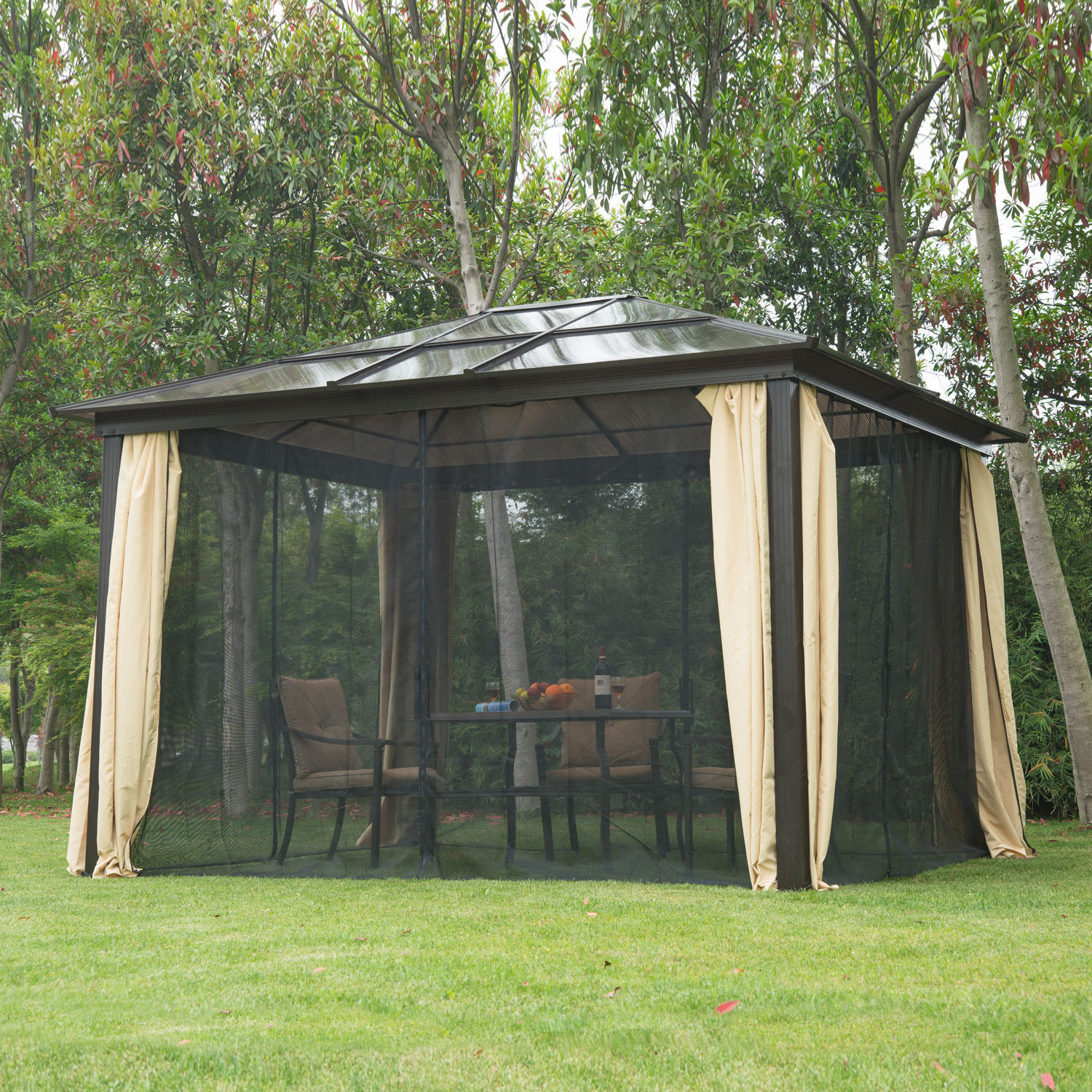 Good 12 X 10 Outdoor Gazebo Patio Canopy Hardtop With Mesh Curtains 2