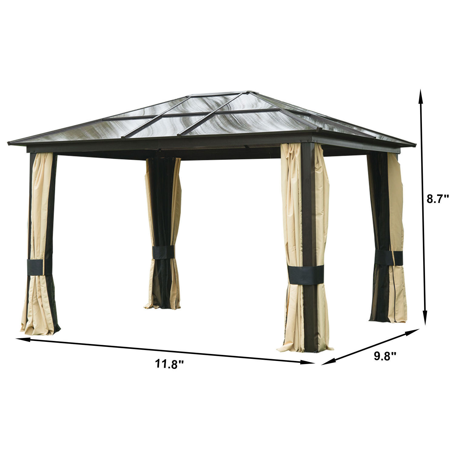 12 X 10 Outdoor Gazebo Patio Canopy Hardtop With Mesh Curtains 3
