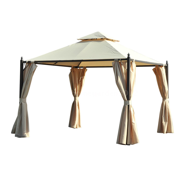 10 x 10 Steel Gazebo Canopy With Curtains - Tan -