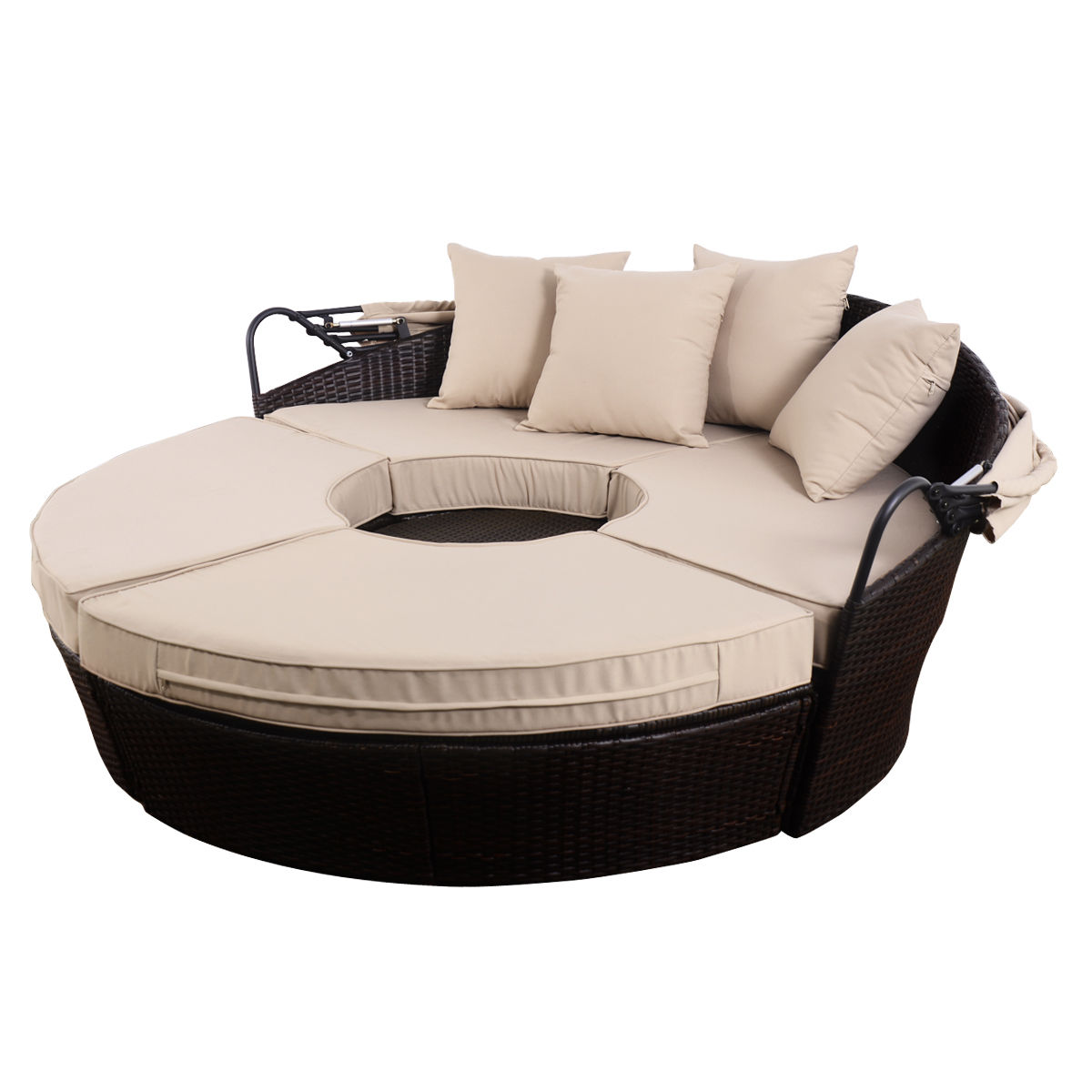 Outdoor Daybed Patio Sofa Furniture Brown