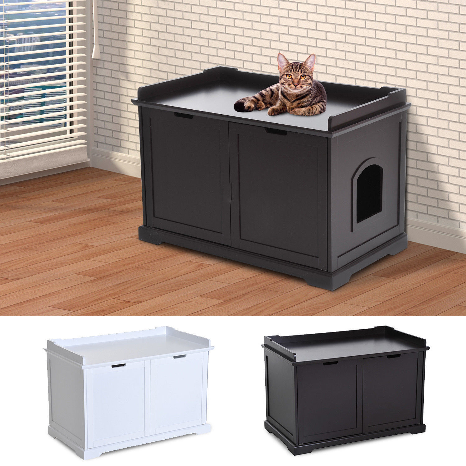Hidden Kitty Litter Box Bench Enclosure Hall End Table Cat Cabinet
