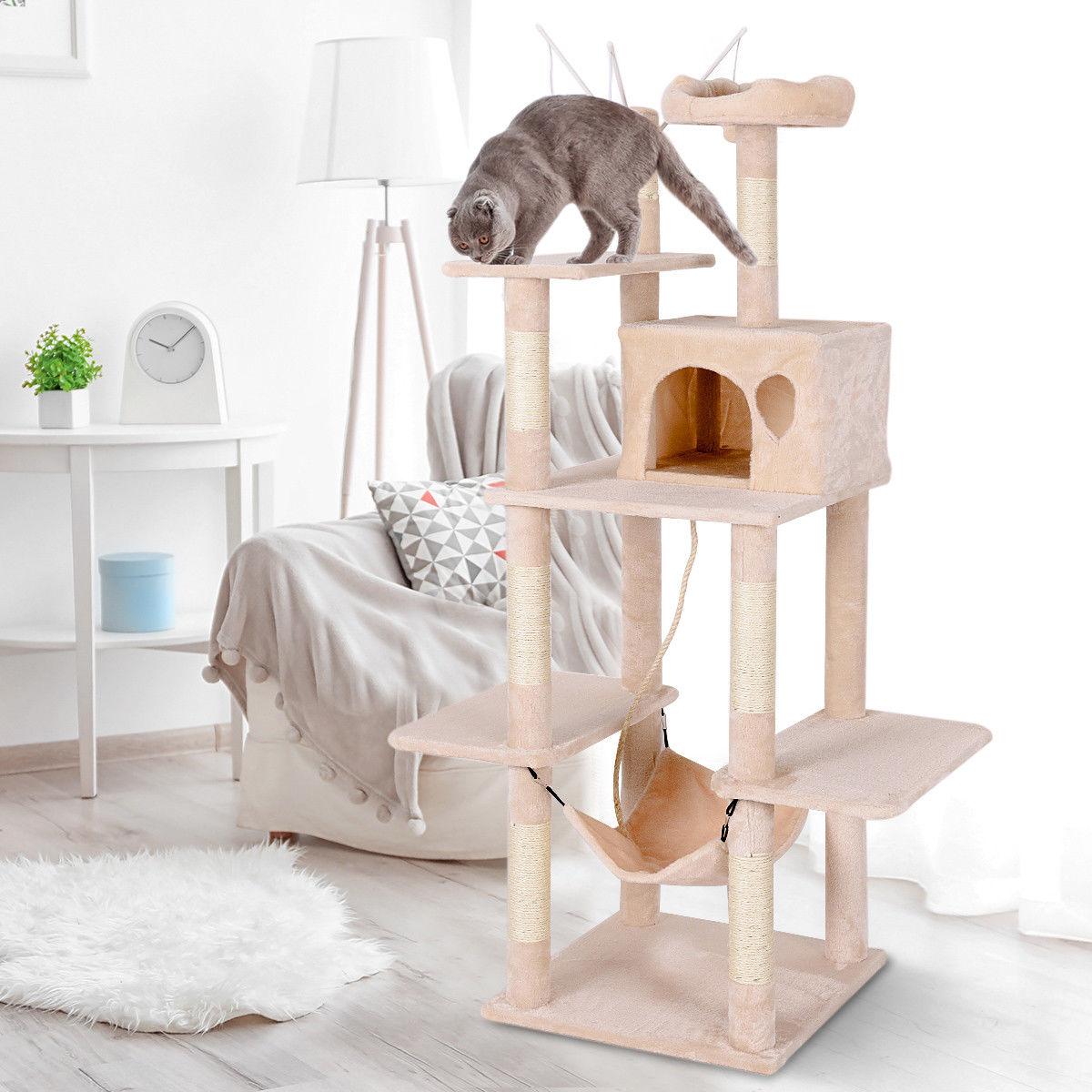 Tall Cat Tree Multilevel Activity Tower Condo W Hammock